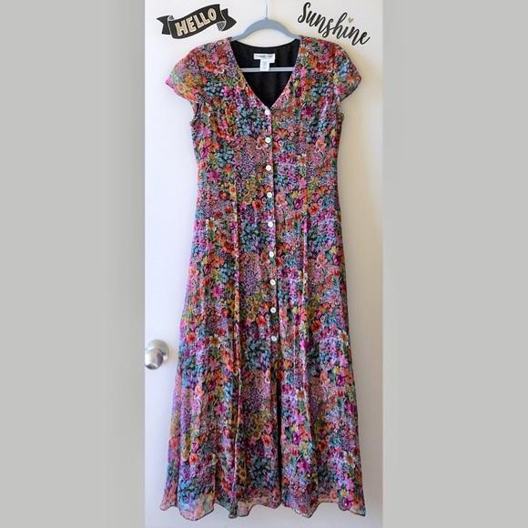 2397b531c0 Coldwater Creek Dresses & Skirts - Vintage Long Black Boho Floral Silk Maxi  Dress S